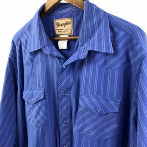 Wrangler Men's Blue Pearl Snap Button Up Shirt 2XL